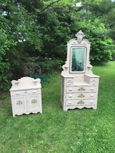 Vintage hand painted large dresser with mirror and wash stand