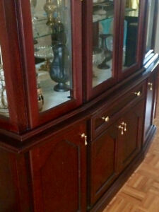 dining table and glass wall unit set