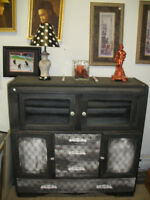 Refinished Chalk Painted Art Deco Cabinet