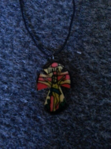 Colourful cross necklace