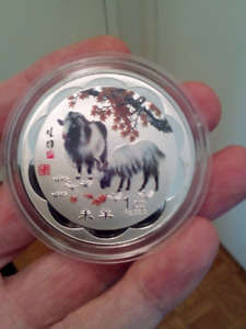 LARGE 45 mm 2015 YEAR OF THE SHEEP CHINESE LUNAR ZODIAC COIN.