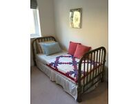 Antique Victorian brass bed. Single.