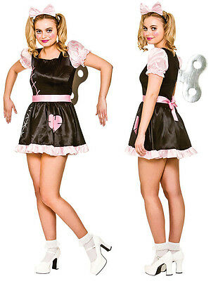 Womens Halloween Creepy Wind Up Broken Doll Fancy Dress Costume Outfit & Key New ()