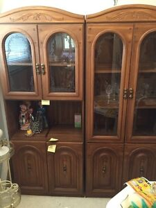 Beautiful oak cabinets. Comes in two pieces