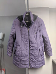 Laura - womens purple winter coat with removable hood 1X
