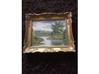 Small gilt framed oil on canvas, signed