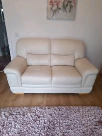 Oak Furnitureland 2 seater pale cream leather sofa