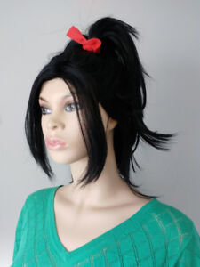 BRAND NEW: Black Pony with Bangs Wig for Wreck It Ralph Vanelope