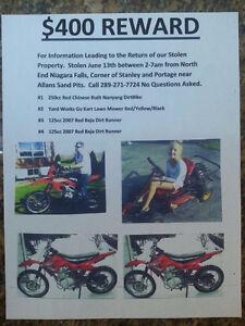 $400 REWARD for 3 Stolen Dirtbikes and Stolen Lawn Go Kart