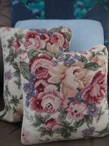 Vintage Cross-stitched Throw Pillows