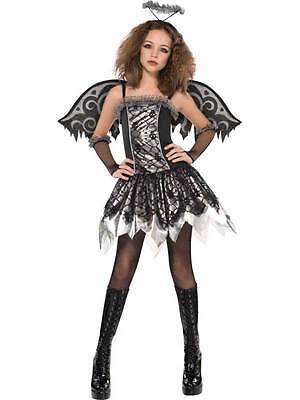Age 12-16yr Teen Fallen Angel Costume Wings & Tights Girls Halloween Fancy Dress](Girls Fallen Angel Costume)