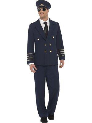 Mens Airline Pilot Costume Captain Aviator Suit Uniform Adult Fancy Dress Outfit](Airline Pilot Costume)