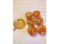 Dessert bowls orange glass 1960