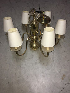 6 light brass chandelier