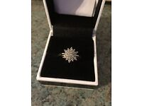 18 carrot gold cluster engagement ring (size R 1/2) 0.5 carrot diamond