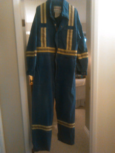 Clean used f/r coveralls with safety stripes