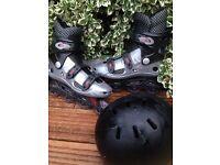 Roller skate and helmet