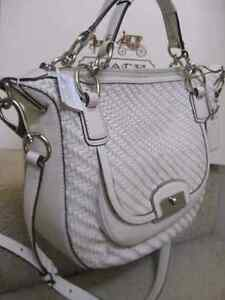 Coach round woven ivory satchel crossbody large handbag purse ba Belleville Belleville Area image 3
