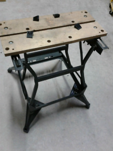 Folding work bench table