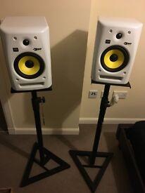 KRK Rokit6 RPG2 Powered Speakers (pair) with adjustable speaker stands