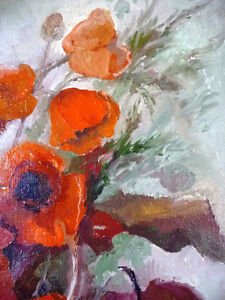 "Bright Floral Oil Painting by J. K. ""Study Of Flowers"" 1950's Stratford Kitchener Area image 8"