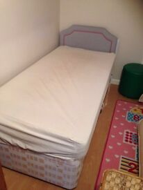 Single bed with headboard and mattress CV12