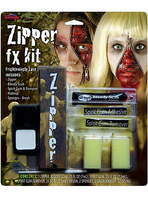 Halloween Zipper Face Scary Kit Zip Bloody Scab Special Effect FX - Zip Face Halloween Costumes