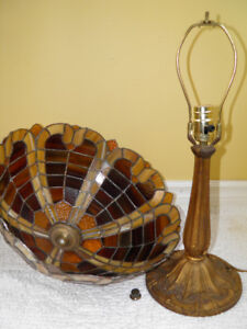 Old Leaded Glass Cast Iron Lamp