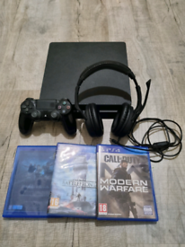 Playstation 4 slim 3 games and headset