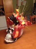 Skeletons head with Halloween decorations