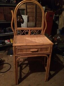Small wicket vanity and chair