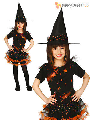 Girls Black Orange Starry Witch Costume Wicked Halloween Fancy Dress Outfit Kids (Orange Witch Costume)