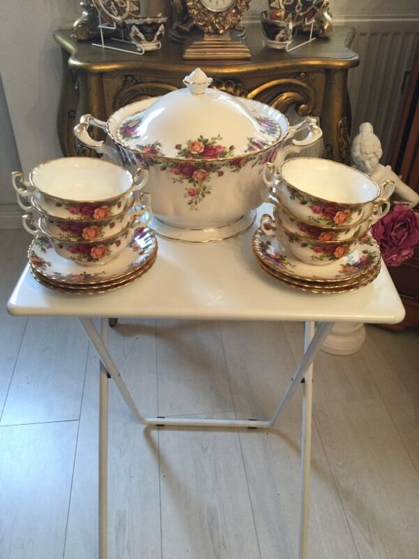 Royal Albert old country roses soup tureen & 6 soup bowls | in ...