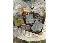 Box of vintage metal stamps for printing, craft