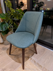 4 x Made Lule Dining Chairs, Bay Green and Walnut