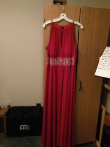 Bright red formal gown