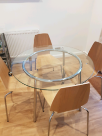 Glass Table & 4 x Chairs - Excellent Condition