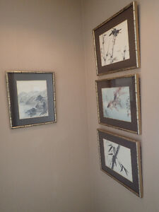 4 Chinese Original Watercolours in Gold Bamboo Frames