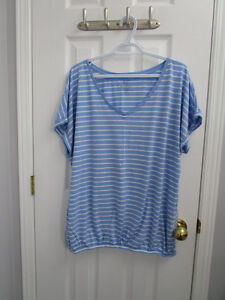 Ladies plus size blue striped short sleeve shirt from AE size 2X