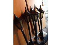 6 x Garden wall lights lamppost black old fashioned metal