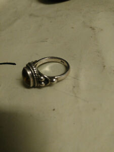 Vintage Sterling silver and amber ring size 8 London Ontario image 2