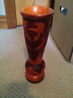 Beautiful Wood Vase from Dominican Republic