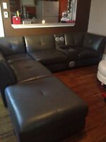 Genuine leather sectional with console