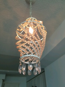 Chandelier white and soft pink