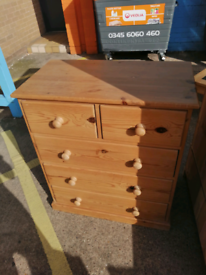 Pitch pine chest of draws