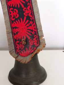 Vintage Bronze Cow Bell on Leather and Tapestry Holder