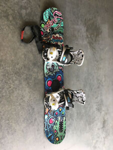 Snowboard, bidding and boots