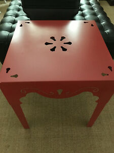 PIER 1 RED METAL TABLE