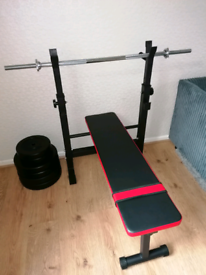 Weight bench and weights set 50kg
