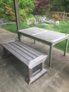 DEAL! Patio Silver Teak Table and Cedar Bench